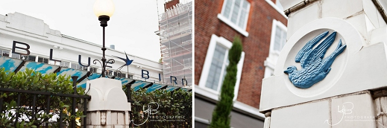 The famous signage of Chelsea civil wedding and reception venue The Bluebird on the Kings Road, London.