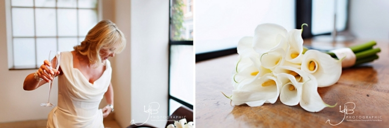 Photos of the bride in her white wedding gown and bouquet of white calla lilies at The Bluebird, Chelsea.