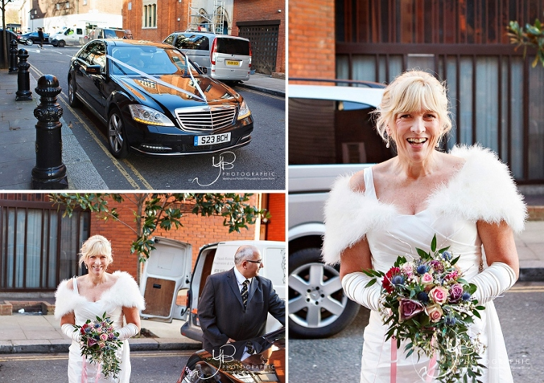 A bride arrives for her intimate winter wedding at Chelsea.