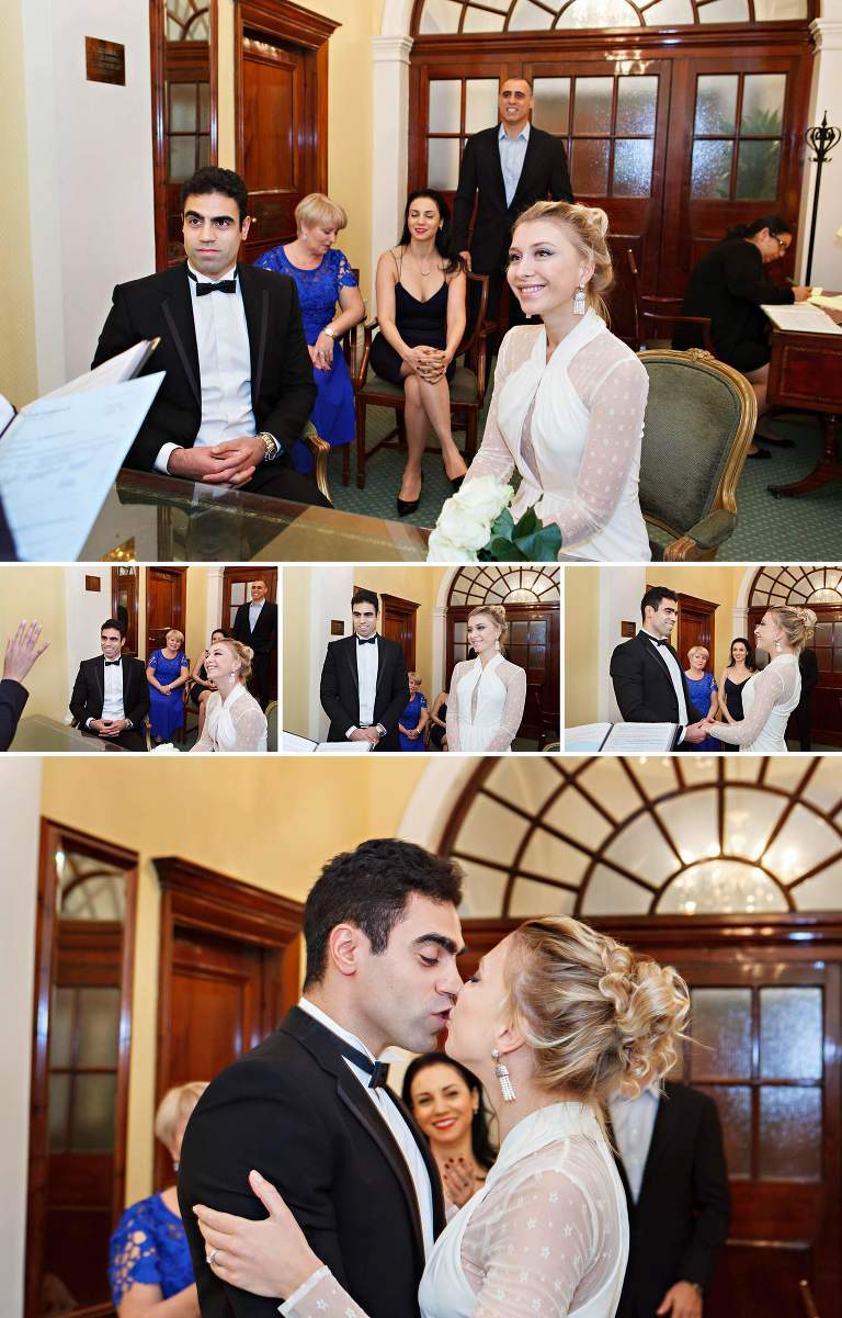 This wedding ceremony took place in the smallest of the Chelsea Register Office Room, the Harrington Room, which fits only the bride and groom and their witnesses.