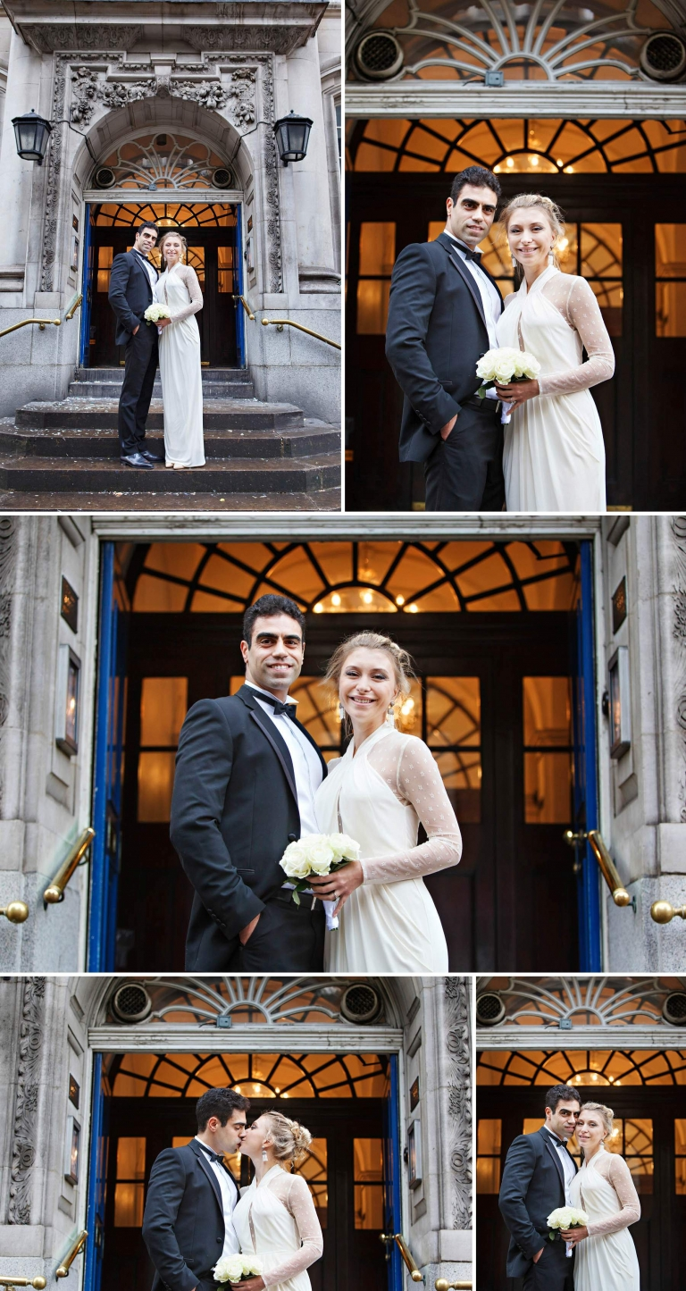 Classic newlywed photos on the steps of Chelsea Register Office