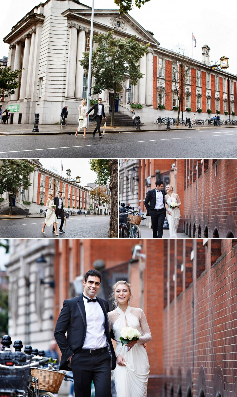 Exploring the streets of Chelsea for the bride and groom's wedding portraits