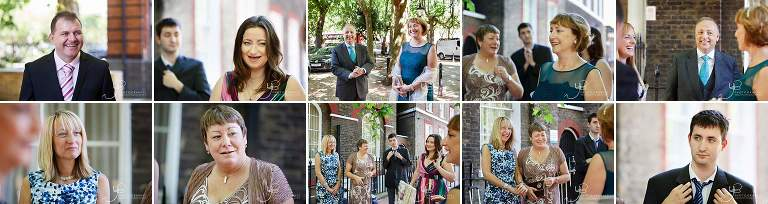 Mingling at Southwark Register Office ahead of the wedding ceremony
