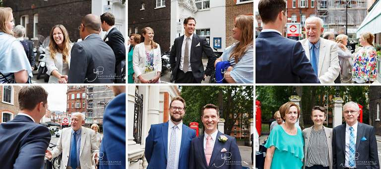 The groom and guests mingle outside Mayfair Library ahead of the wedding