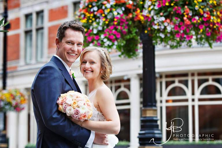 Wedding Portraits in Mounts Street Gardens after Mayfair Library summer wedding ceremony