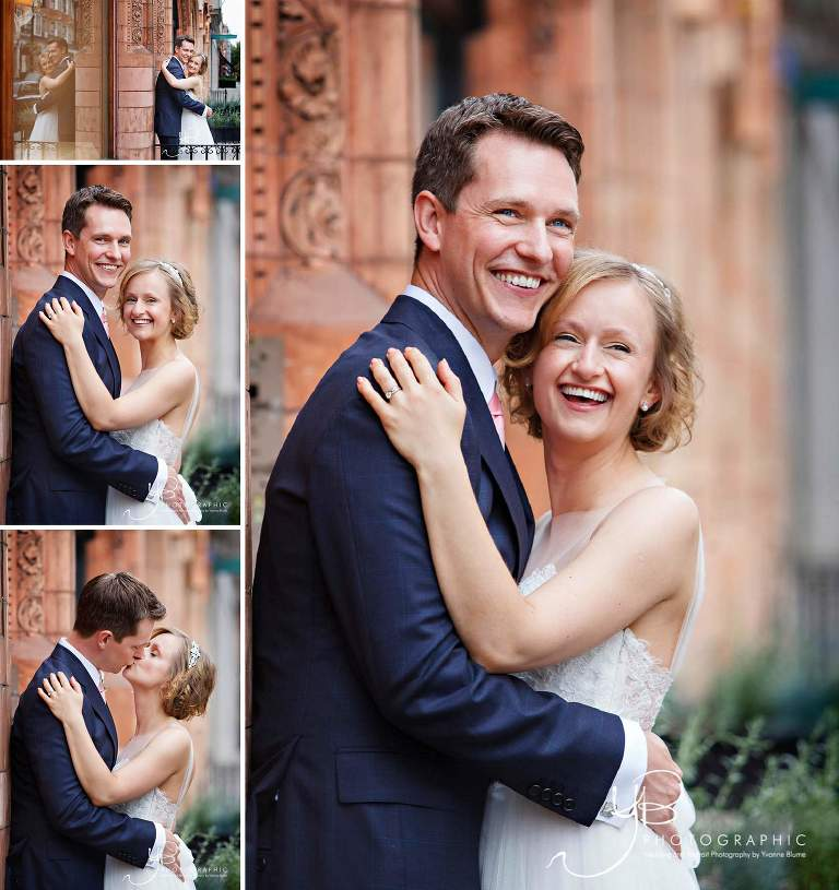 Gorgeous portraits of the bride and groom after their wedding ceremony