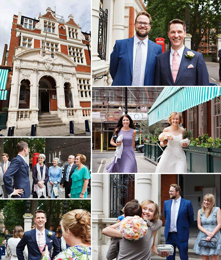 Bride and Groom arrive at Mayfair Library summer wedding