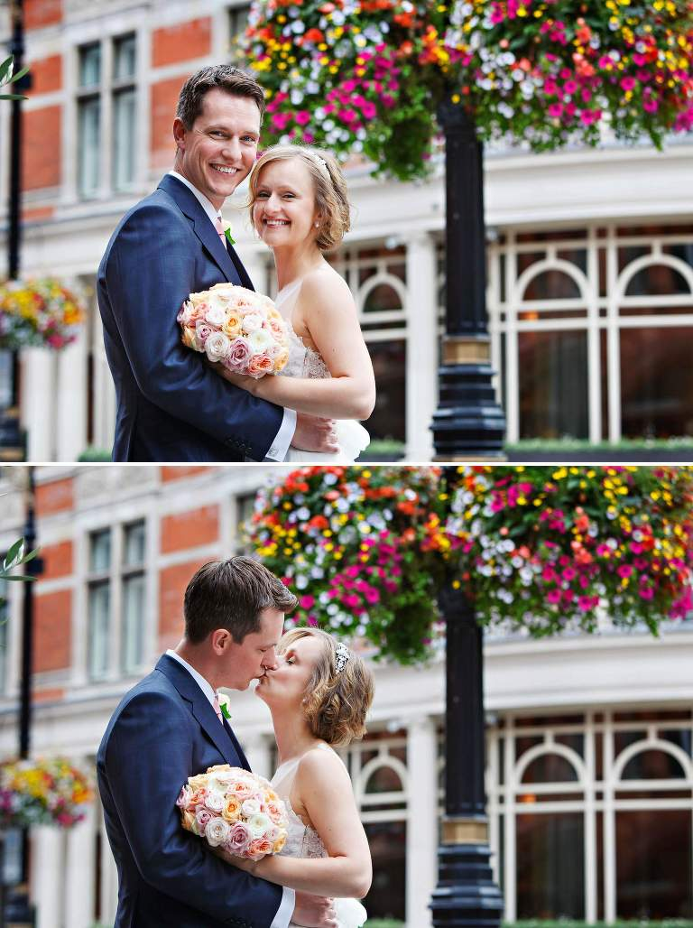 Summer wedding portrait photos in Mayfair