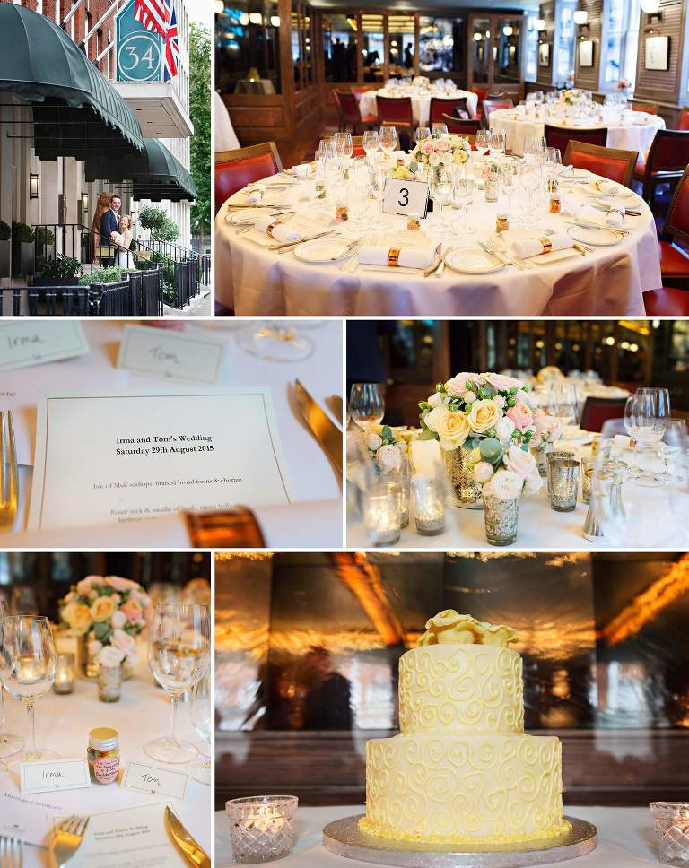 Wedding details at no 34 Restaurant in Mayfair