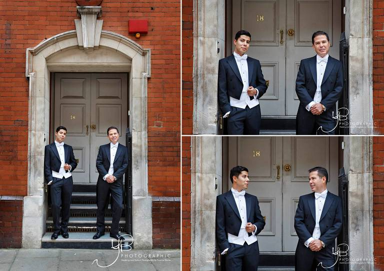 Wedding portraits of two grooms on the streets of Chelsea in London.