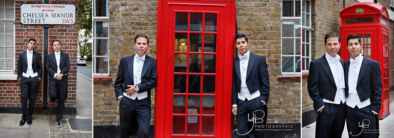 Wedding portraits of two grooms on Chelsea Manor Street in SW3 before their civil ceremony.