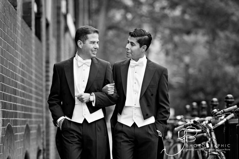 Natural wedding portraits featuring 2 grooms