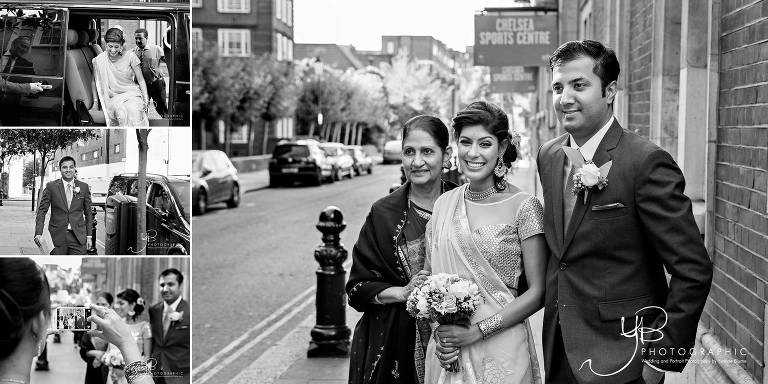 Asian bride and groom arrive at Chelsea Register Office