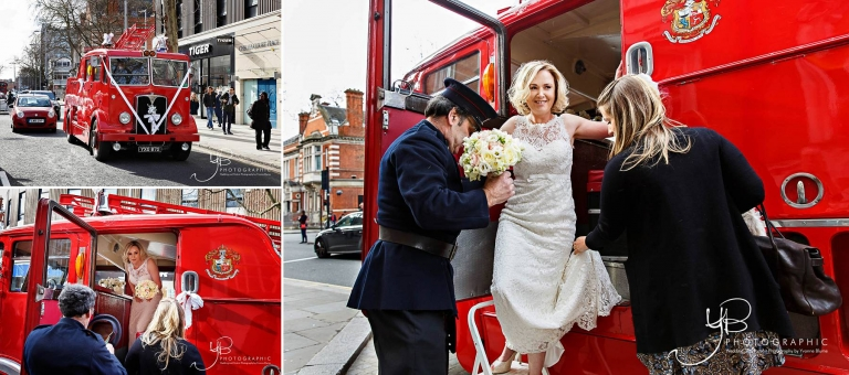 Bride Arrives at Chelsea Register Office wedding in a fire engine