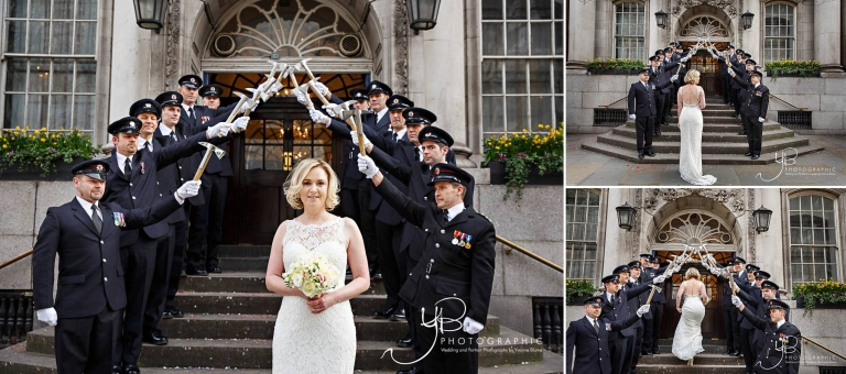 Firefighter's Guard of Honour for the bride at Chelsea Register Office