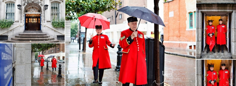 Chelsea Pensioners arrive at Chelsea Register Office to be witnesses.