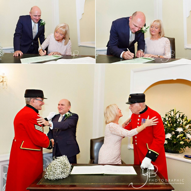 Two stylish Chelsea Pensioners can be your wedding witnesses or elopement witnesses, signing the register and throwing confetti, should you want that on the Kings Road steps.