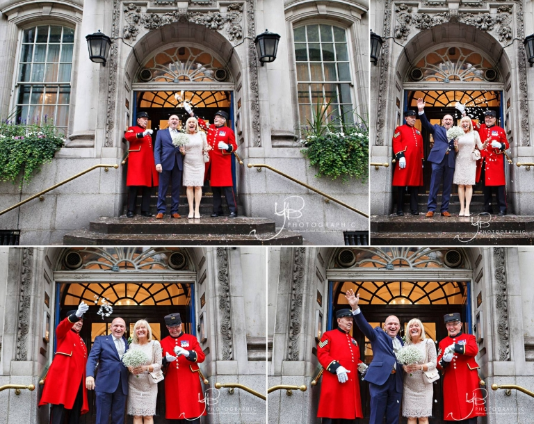 Two Chelsea Pensioners throw confetti over an eloping couple on the steps of Chelsea Register Office on the Kings Road.