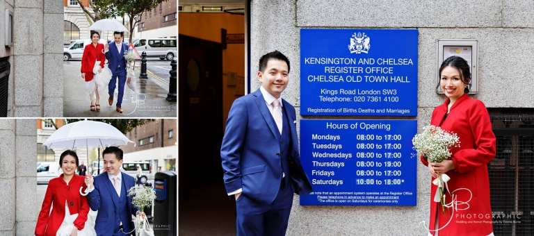 Chinese Bride and Groom arrive at Chelsea Register Office