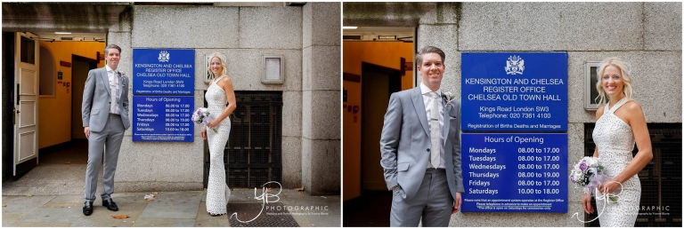 Bride and Groom portraits at Chelsea Register Office