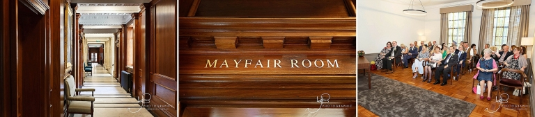 Details of the Mayfair Room at Marylebone before the wedding of Christine and Ray.