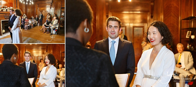 Family and friends witness the civil marriage ceremony of Janie and Jonathan in the wood-panelled Marylebone Room
