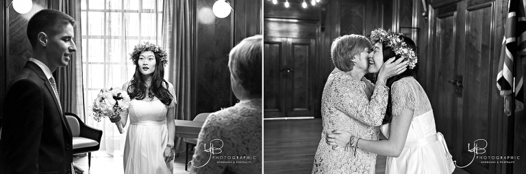 The bride before her Soho Room wedding ceremony with guests.