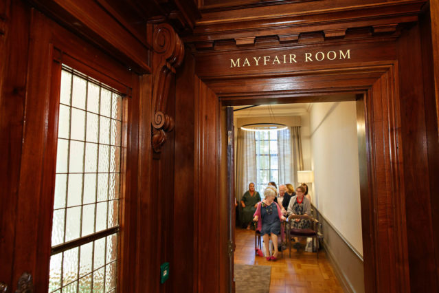 The entrance to the Mayfair Room in the Old Marylebone Town Hall.