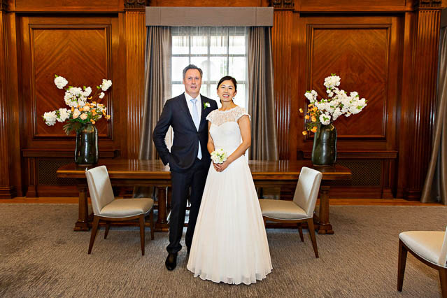 A bride and groom wait in the Marylebone Room for their marriage ceremony.