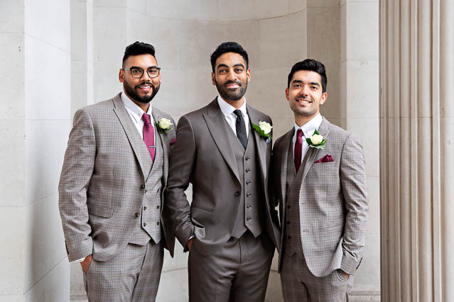 The groom and his two best men at Marylebone Old Town Hall before his wedding ceremony.
