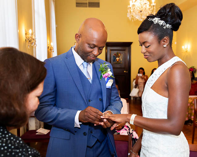This bride and groom had their civil wedding in the Brydon Room in the Chelsea register office on the Kings Road.