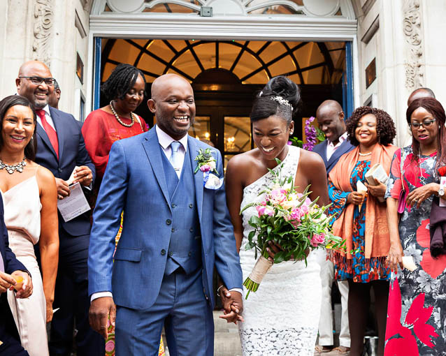 This bride and groom chose getting married in a registry office in the Royal Borough of Kensington and Chelsea on the Kings Road.