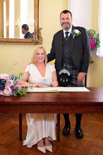 The civil ceremony London of this bride and groom took place in the newly-decorated Brydon Room in Chelsea Town Hall.